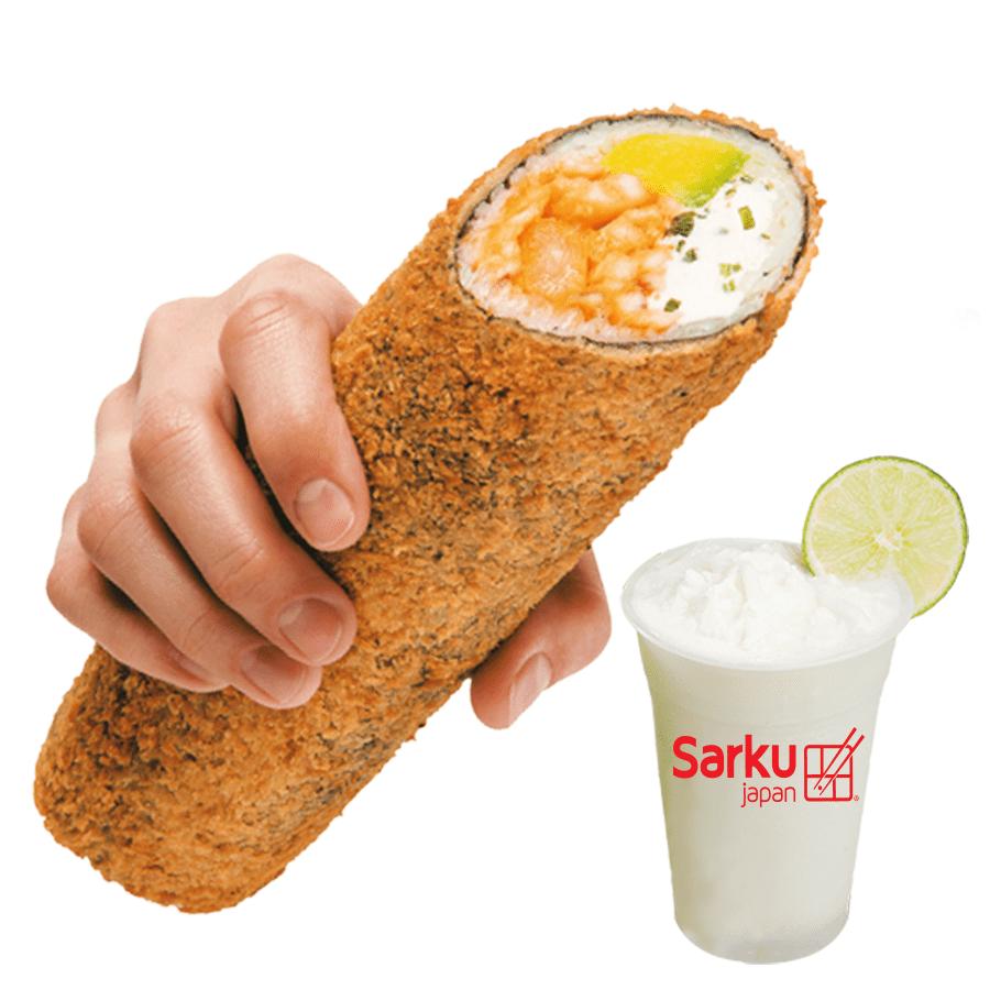 Sushi Burrito Volcano + Limo Coco.